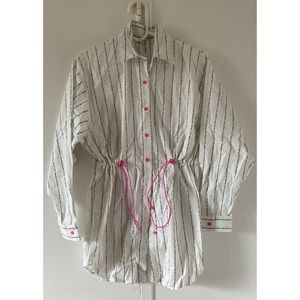 Collusion AllOver Logo Oversize Stripe Shirt Dress